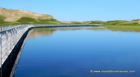 Floating Boardwalk over Bowley Pond at Greenwich National Park, Prince Edward Island, Canada