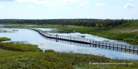 Floating Boardwalk over Bowley Pond at Greenwich National Park, Prince Edward Island, Canada