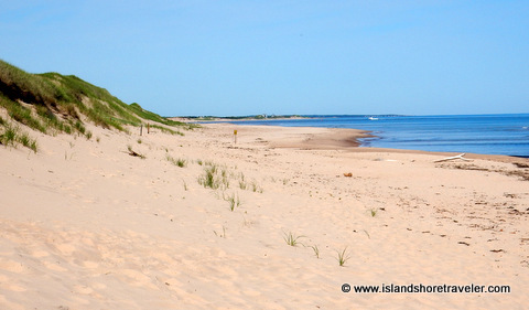 Beach at the end of the floating boardwalk at Greenwich National Park, Prince Edward Island, Canada