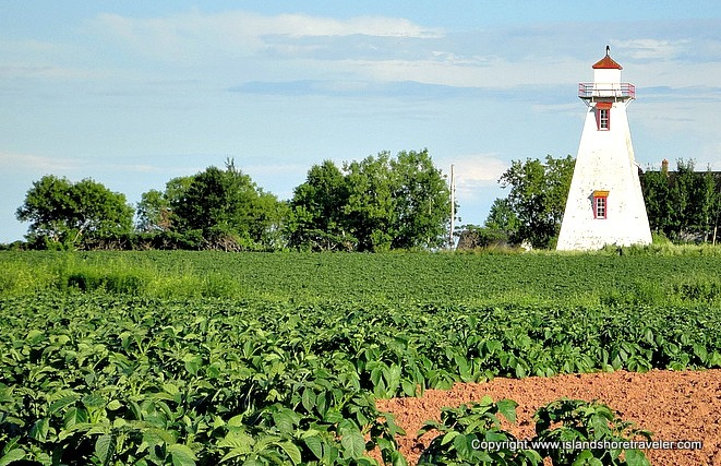 Lighthouse in a field of potatoes
