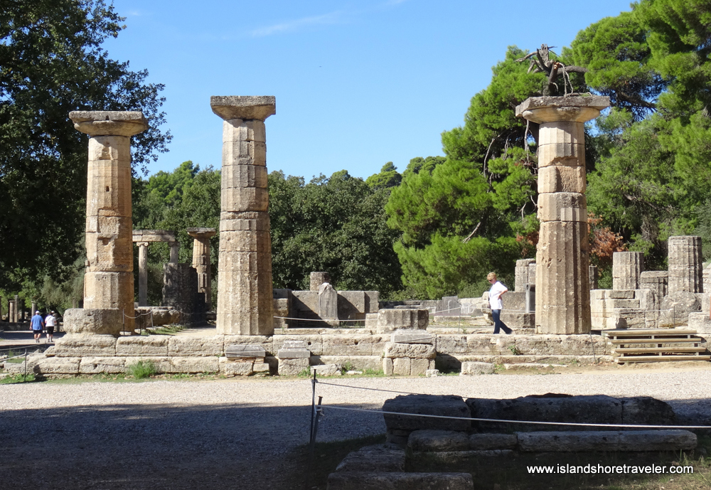 Ruins of Temple of Hera in Ancient Olympia, Greece